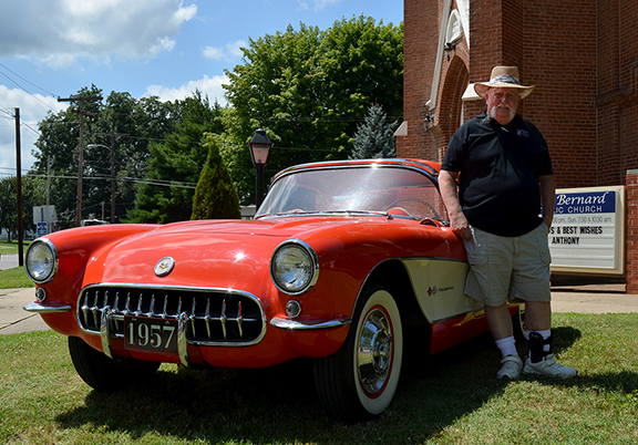 Robert Drayton from Southampton, NJ claims his 1957 Corvette on July 28, 2014 at St. Bernard Church in Rockport, IN.